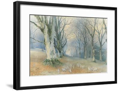 Fairies and Squirrels, C.1870 (W/C on Paper)-Richard Doyle-Framed Giclee Print