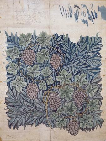 Leaf and Grape Design for 'Vine' Wallpaper (Pencil and W/C on Paper)-William Morris-Premium Giclee Print