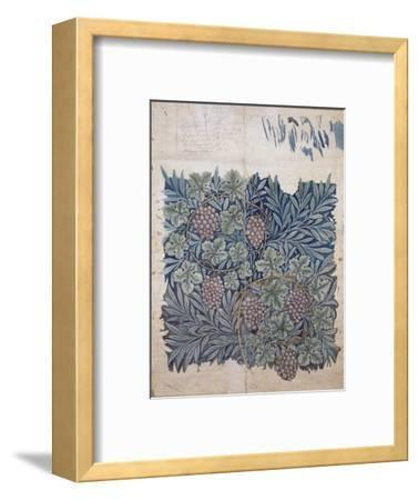 Leaf and Grape Design for 'Vine' Wallpaper (Pencil and W/C on Paper)-William Morris-Framed Premium Giclee Print