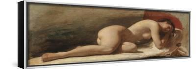 Study of a Reclining Female Nude, 1843 (Oil on Board)-Edward William Wyon-Framed Stretched Canvas Print