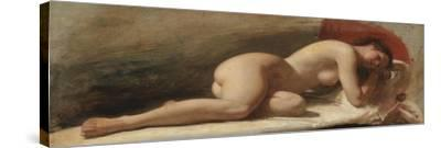 Study of a Reclining Female Nude, 1843 (Oil on Board)-Edward William Wyon-Stretched Canvas Print