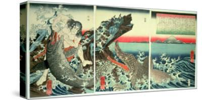 Asahina Saburo and the Crocodiles, Pub. 1849 (Colour Woodblock Print)-Kuniyoshi Utagawa-Stretched Canvas Print