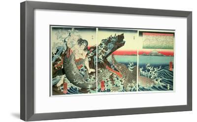 Asahina Saburo and the Crocodiles, Pub. 1849 (Colour Woodblock Print)-Kuniyoshi Utagawa-Framed Giclee Print