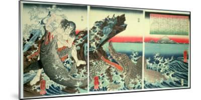 Asahina Saburo and the Crocodiles, Pub. 1849 (Colour Woodblock Print)-Kuniyoshi Utagawa-Mounted Giclee Print