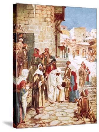 Jesus Blessing Little Children-William Brassey Hole-Stretched Canvas Print