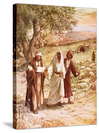Jesus Appearing to Two Disciples on the Road to Emmaus-William Brassey Hole-Stretched Canvas Print
