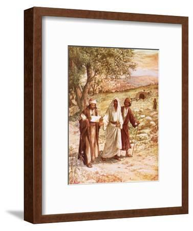Jesus Appearing to Two Disciples on the Road to Emmaus-William Brassey Hole-Framed Premium Giclee Print