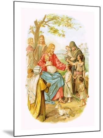 Jesus Blessing the Children-English-Mounted Giclee Print