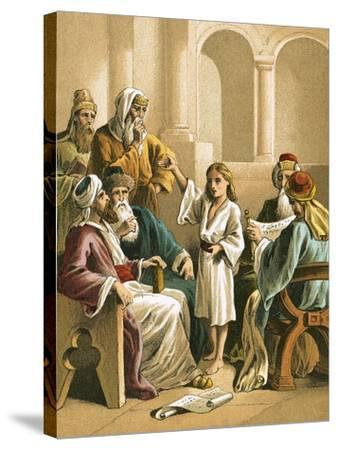 Jesus Disputing with the Doctors-English-Stretched Canvas Print