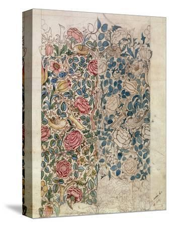 Rose' Wallpaper Design (Pencil and W/C on Paper)-William Morris-Stretched Canvas Print