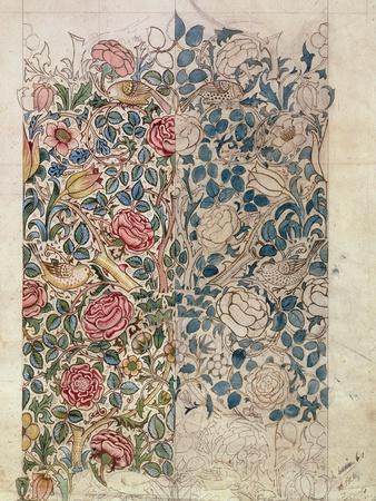 Rose' Wallpaper Design (Pencil and W/C on Paper)-William Morris-Premium Giclee Print