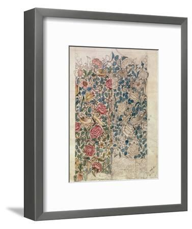 Rose' Wallpaper Design (Pencil and W/C on Paper)-William Morris-Framed Premium Giclee Print