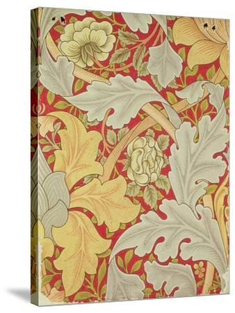 Acanthus Leaves and Wild Rose on a Crimson Background, Wallpaper Design-William Morris-Stretched Canvas Print