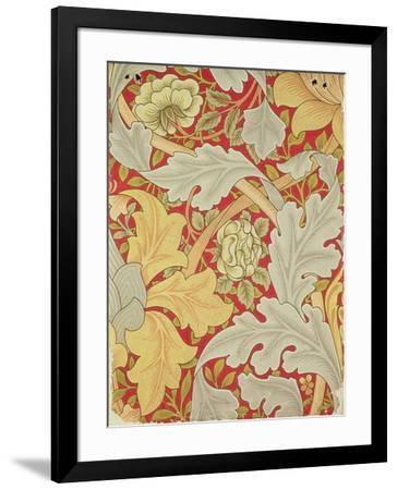 Acanthus Leaves and Wild Rose on a Crimson Background, Wallpaper Design-William Morris-Framed Premium Giclee Print