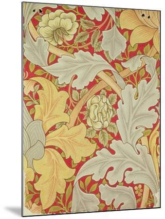 Acanthus Leaves and Wild Rose on a Crimson Background, Wallpaper Design-William Morris-Mounted Premium Giclee Print