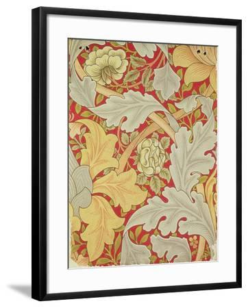 Acanthus Leaves and Wild Rose on a Crimson Background, Wallpaper Design-William Morris-Framed Giclee Print