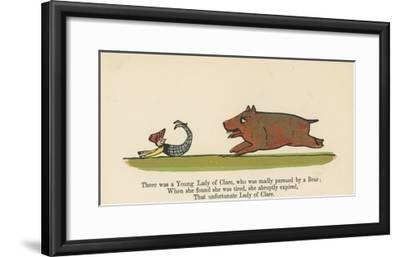 There Was a Young Lady of Clare, Who Was Madly Pursued by a Bear from 'A Book of Nonsense'-Edward Lear-Framed Giclee Print