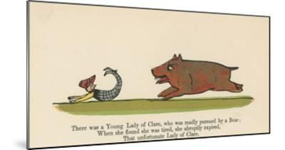 There Was a Young Lady of Clare, Who Was Madly Pursued by a Bear from 'A Book of Nonsense'-Edward Lear-Mounted Giclee Print