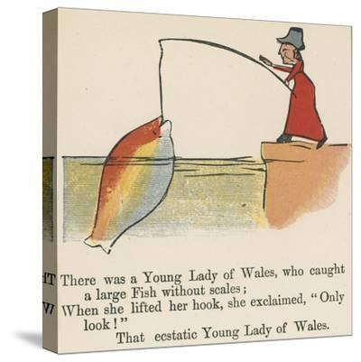 There Was a Young Lady of Wales, Who Caught a Large Fish Without Scales-Edward Lear-Stretched Canvas Print