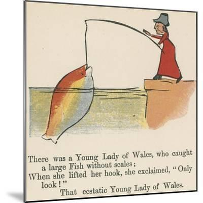 There Was a Young Lady of Wales, Who Caught a Large Fish Without Scales-Edward Lear-Mounted Giclee Print