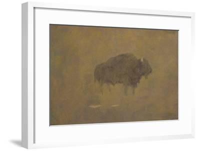 Buffalo in a Sandstorm (Oil on Paper Mounted on Board)-Albert Bierstadt-Framed Giclee Print