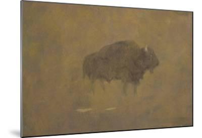 Buffalo in a Sandstorm (Oil on Paper Mounted on Board)-Albert Bierstadt-Mounted Giclee Print