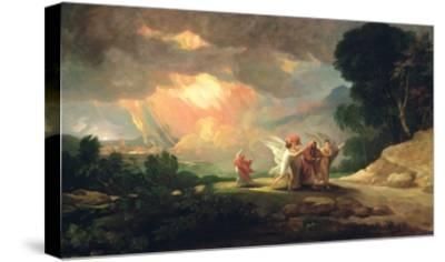 Lot Fleeing from Sodom, 1810 (Oil on Panel)-Benjamin West-Stretched Canvas Print