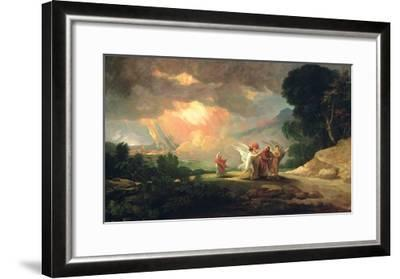 Lot Fleeing from Sodom, 1810 (Oil on Panel)-Benjamin West-Framed Giclee Print