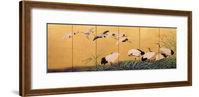 Six-Fold Screen Depicting Reeds and Cranes, Edo Period, Japanese, 19th Century-Suzuki Kiitsu-Framed Giclee Print