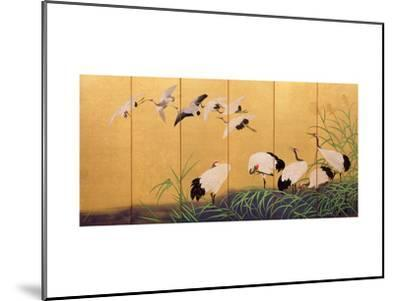 Six-Fold Screen Depicting Reeds and Cranes, Edo Period, Japanese, 19th Century-Suzuki Kiitsu-Mounted Giclee Print