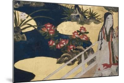 Detail of Spring in the Palace, Six-Fold Screen from 'The Tale of Genji', C.1650-Japanese-Mounted Giclee Print