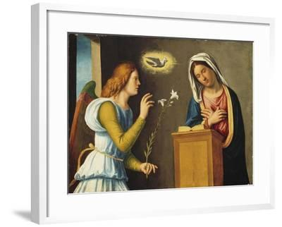 Annunciation to the Virgin, 1500/05 (Paint on Wood Panel)-Giovanni Battista Cima Da Conegliano-Framed Giclee Print
