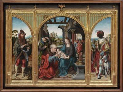 Adoration of the Magi, C.1525 (Oil on Oak Panels)-Joos Van Cleve-Framed Giclee Print