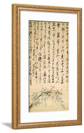 Ode to the Pomegranate and Melon Vine, C.1506/1509 (Pen and Ink and W/C on Paper)-Shen Zhou-Framed Giclee Print