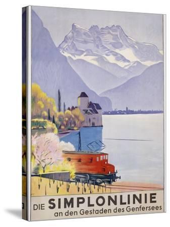 Die Simplonlinie an Den Gestaden Des Genfersees', Poster Advertising Rail Travel around Lake Geneva-Emil Cardinaux-Stretched Canvas Print