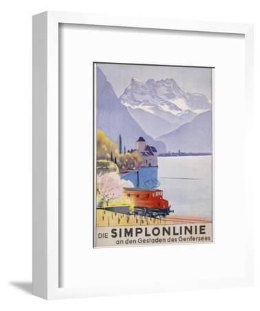 Die Simplonlinie an Den Gestaden Des Genfersees', Poster Advertising Rail Travel around Lake Geneva-Emil Cardinaux-Framed Premium Giclee Print