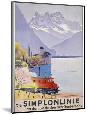 Die Simplonlinie an Den Gestaden Des Genfersees', Poster Advertising Rail Travel around Lake Geneva-Emil Cardinaux-Mounted Premium Giclee Print