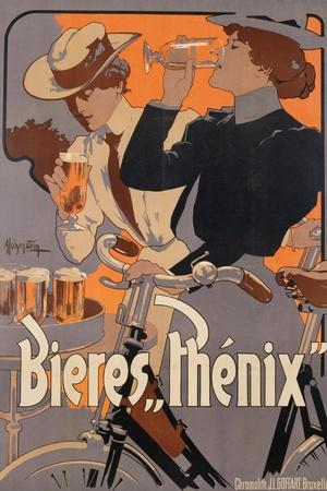 Poster Advertising Phenix Beer, C.1899 (Colour Litho)-Adolfo Hohenstein-Stretched Canvas Print