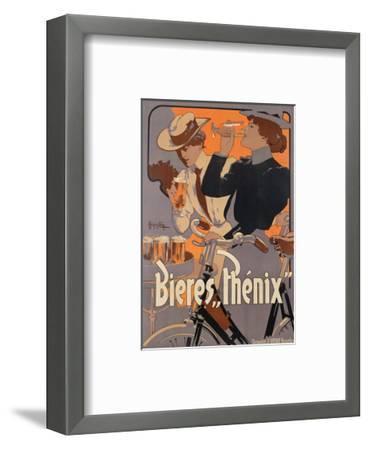 Poster Advertising Phenix Beer, C.1899 (Colour Litho)-Adolfo Hohenstein-Framed Premium Giclee Print
