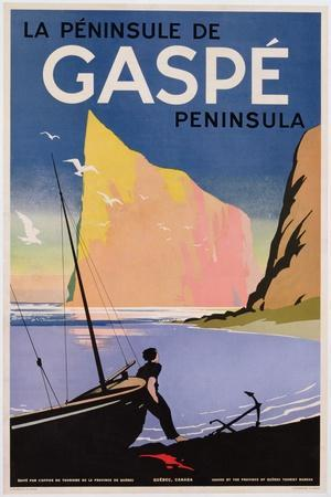 Poster Advertising the Gaspe Peninsula, Quebec, Canada, C.1938 (Colour Litho)- Canadian-Stretched Canvas Print