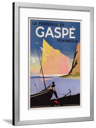 Poster Advertising the Gaspe Peninsula, Quebec, Canada, C.1938 (Colour Litho)- Canadian-Framed Premium Giclee Print