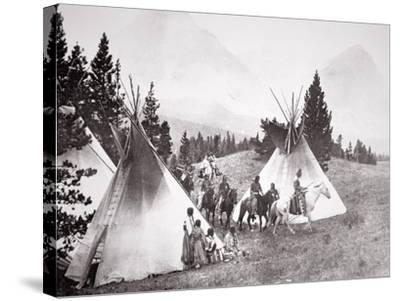Native American Teepee Camp, Montana, C.1900 (B/W Photo)-American Photographer-Stretched Canvas Print