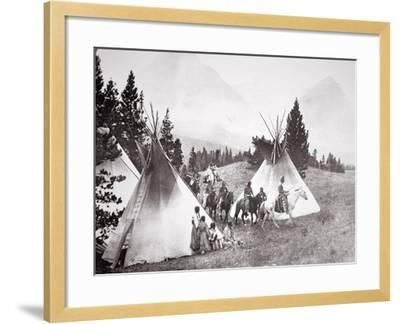 Native American Teepee Camp, Montana, C.1900 (B/W Photo)-American Photographer-Framed Giclee Print