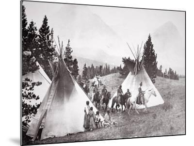 Native American Teepee Camp, Montana, C.1900 (B/W Photo)-American Photographer-Mounted Giclee Print