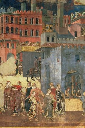 Good Government in the City,1338-40 (Detail of 57868) (Fresco)-Ambrogio Lorenzetti-Stretched Canvas Print
