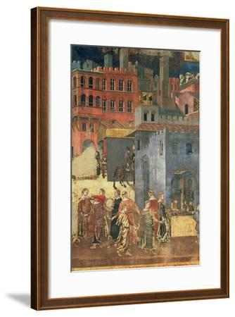 Good Government in the City,1338-40 (Detail of 57868) (Fresco)-Ambrogio Lorenzetti-Framed Giclee Print