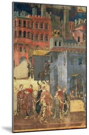 Good Government in the City,1338-40 (Detail of 57868) (Fresco)-Ambrogio Lorenzetti-Mounted Giclee Print
