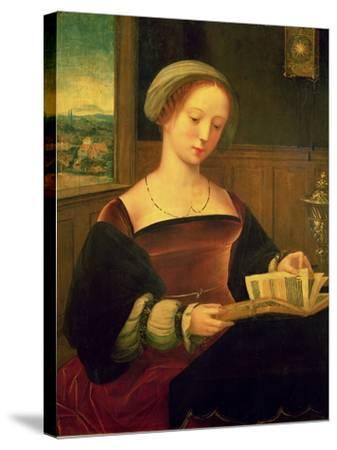 Mary Magdalene Reading (Oil on Panel)- Master of Female Half Lengths-Stretched Canvas Print