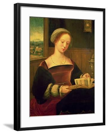 Mary Magdalene Reading (Oil on Panel)- Master of Female Half Lengths-Framed Giclee Print