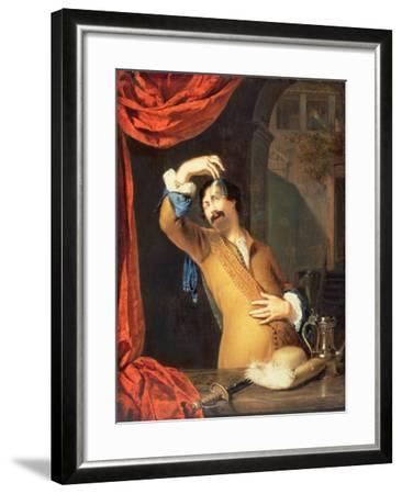 T31553 a Cavalier Standing at a Window Examining a Roemer (Panel)-Willem Van Mieris-Framed Giclee Print